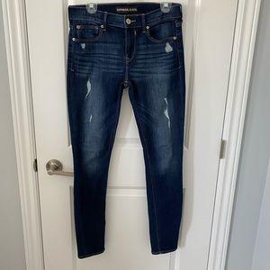 "Express Distressed Dark Wash ""Legging"" Jeans"